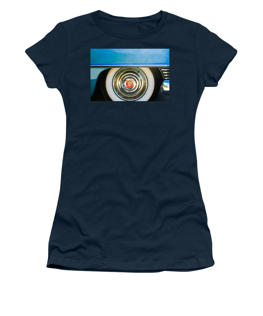 1954 Cadillac Coupe Deville Wheel Emblem Women's T-Shirt featuring the photograph 1954 Cadillac Coupe Deville Wheel Emblem by Jill Reger