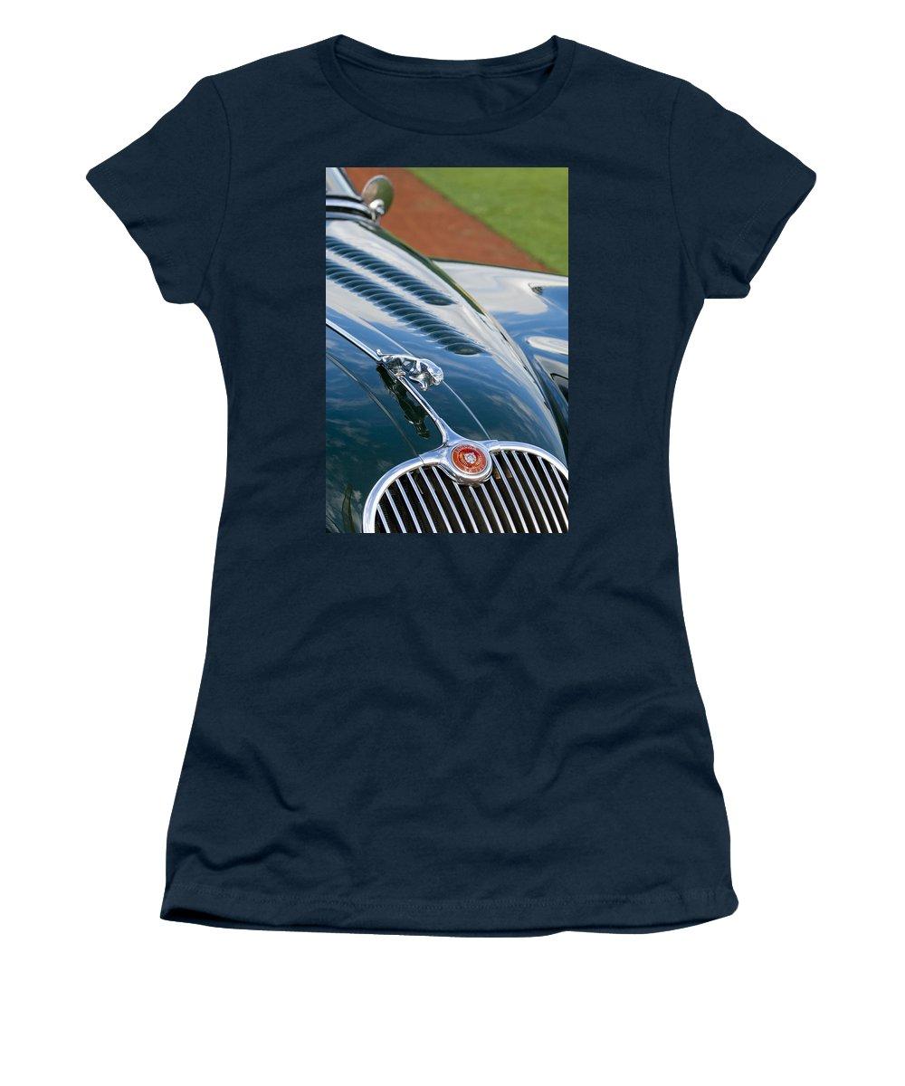 1960 Jaguar Xk 150s Fhc Women's T-Shirt featuring the photograph 1960 Jaguar Xk 150s Fhc Hood Ornament 3 by Jill Reger