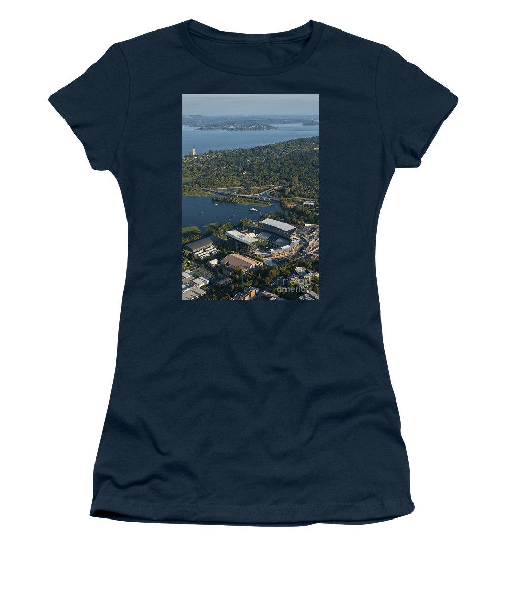 Husky Stadium Women's T-Shirt featuring the photograph Aerial View Of The New Husky Stadium by Jim Corwin