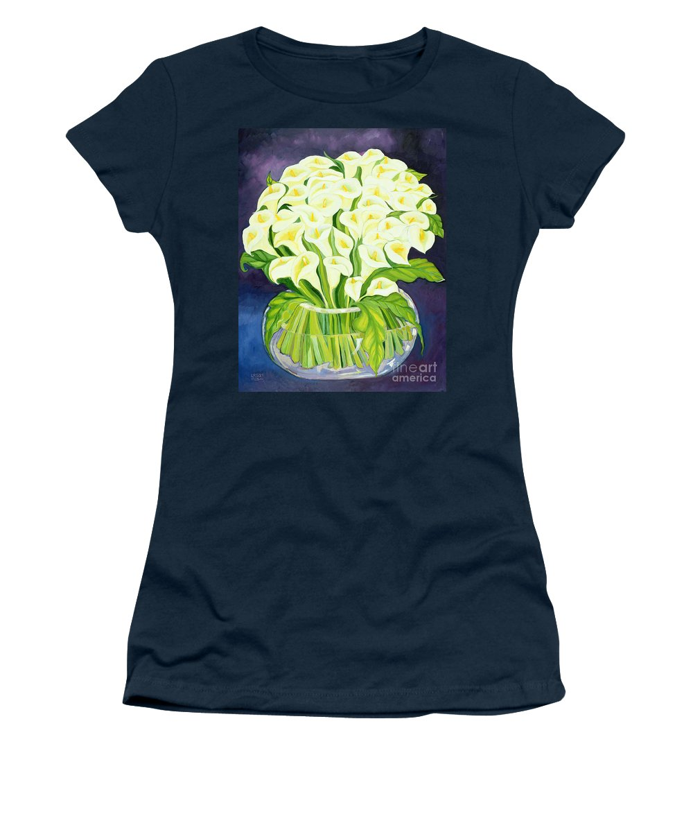 Flowers Women's T-Shirt featuring the painting Calla Lilies by Laila Shawa