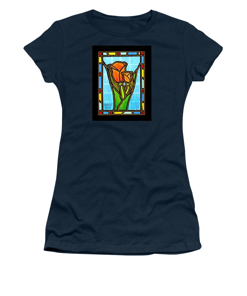 Tulips Women's T-Shirt featuring the painting Mother And Child by Jim Harris