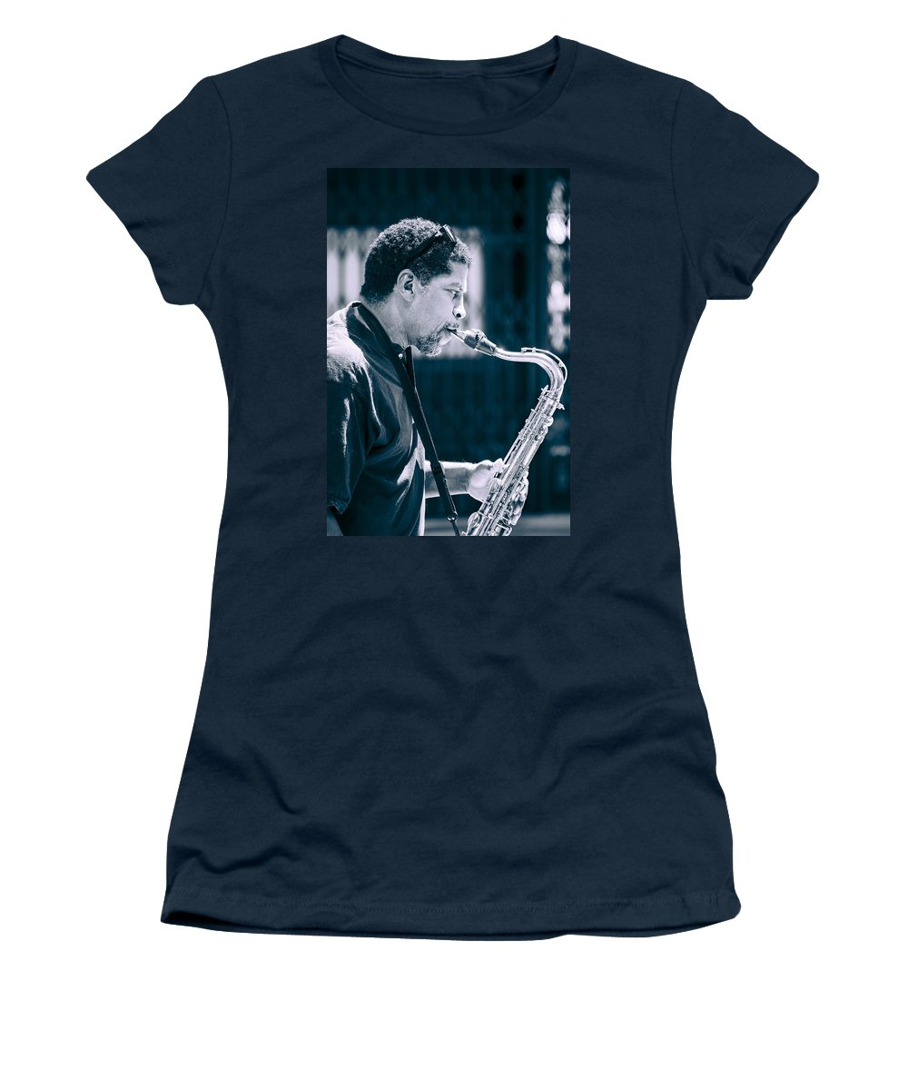 Saxophone Women's T-Shirt featuring the photograph Saxophone Player by Carolyn Marshall