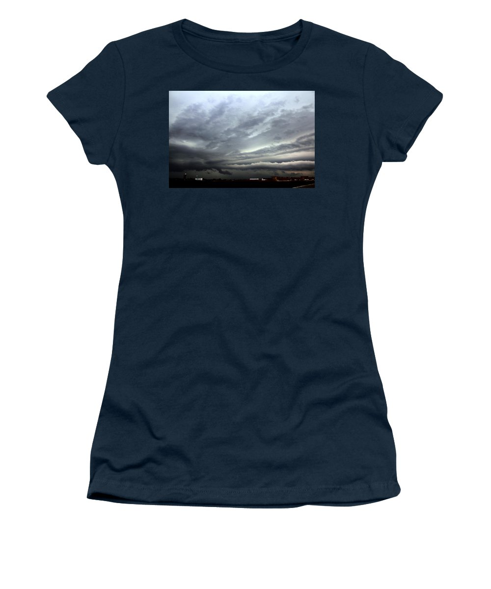 Stormscape Women's T-Shirt (Athletic Fit) featuring the photograph Severe Warned Nebraska Storm Cells by NebraskaSC
