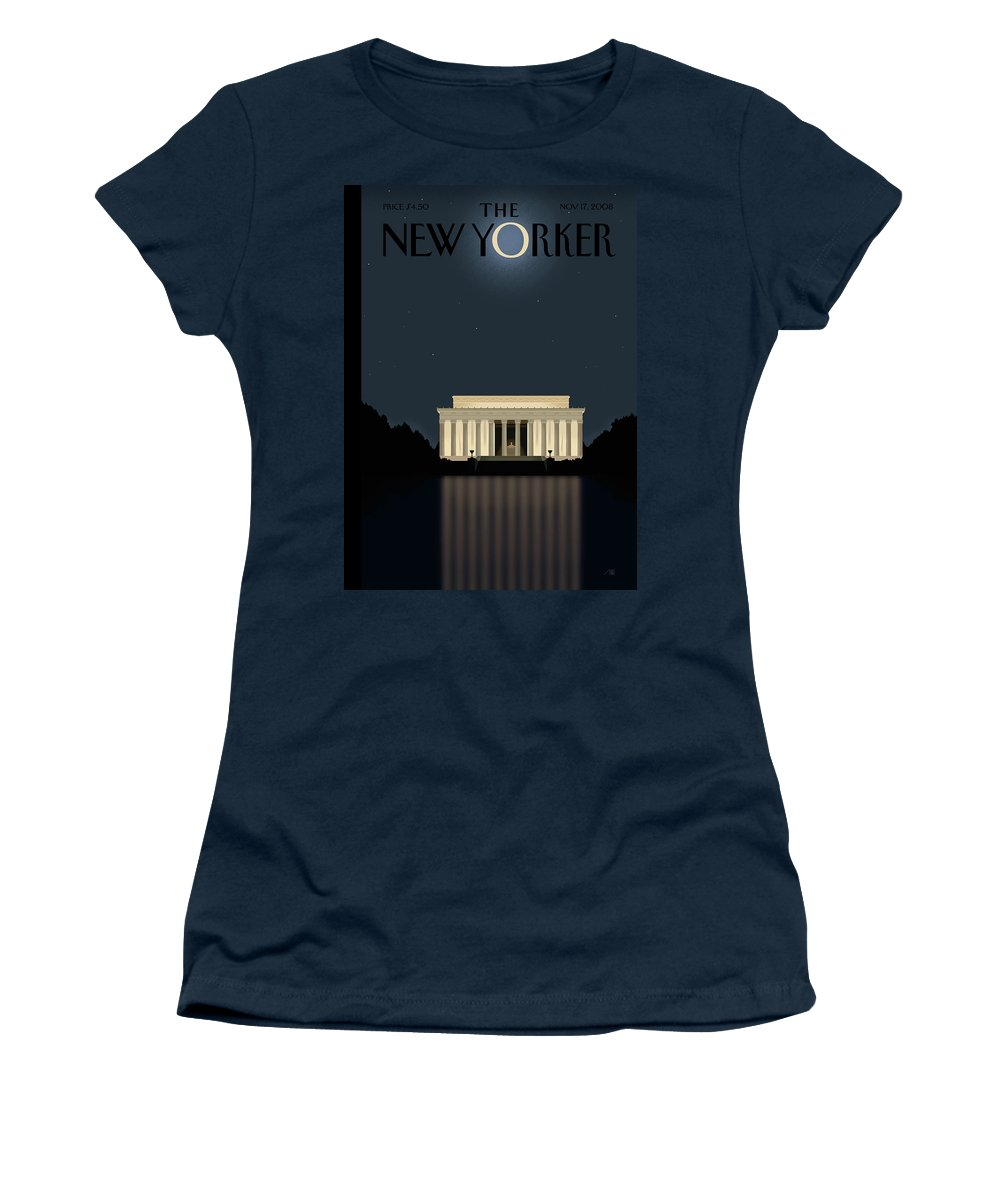 Lincoln Women's T-Shirt featuring the painting New Yorker November 17th, 2008 by Bob Staake