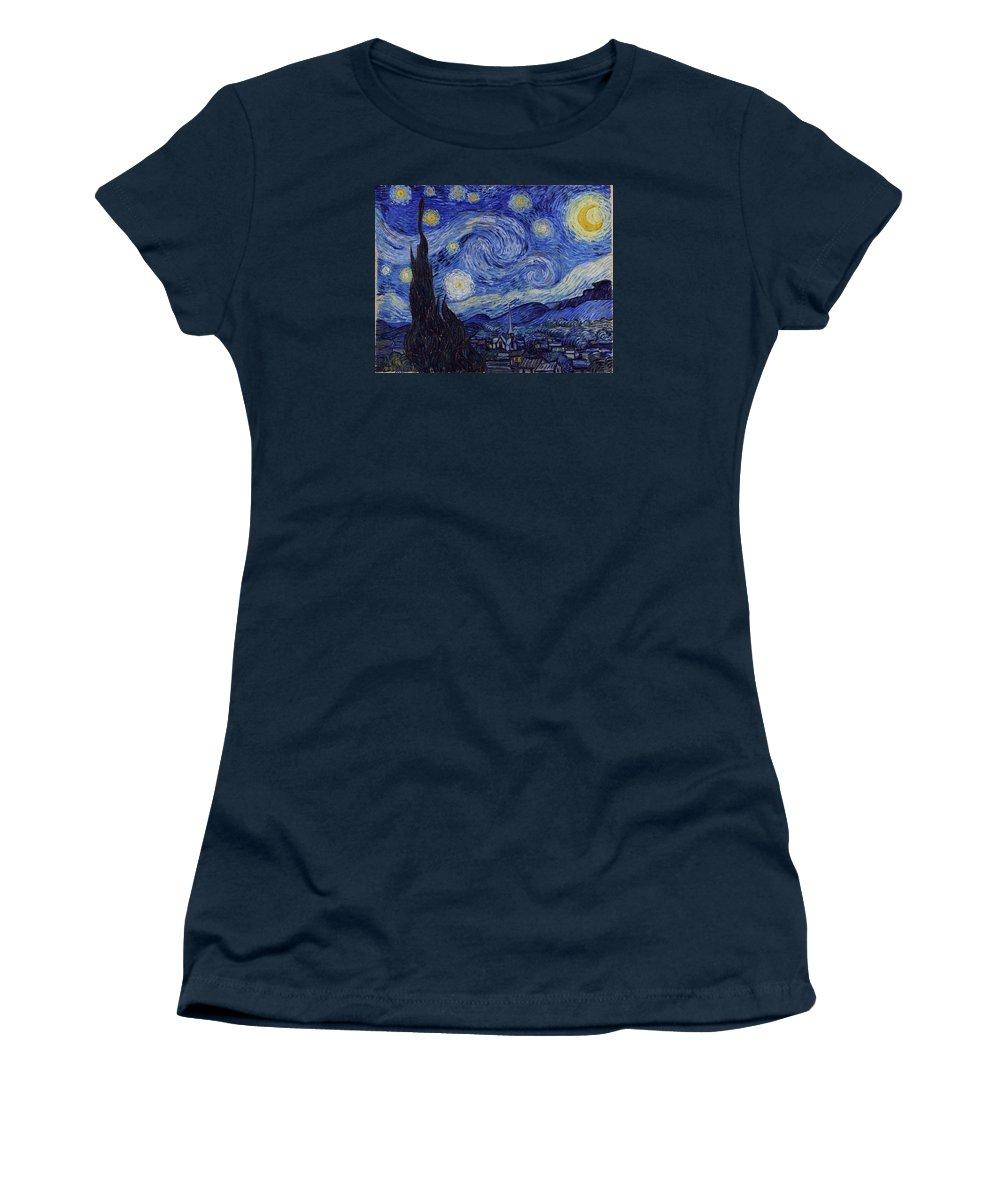 Van Gogh Starry Night Women's T-Shirt featuring the painting Starry Night by Vincent Van Gogh