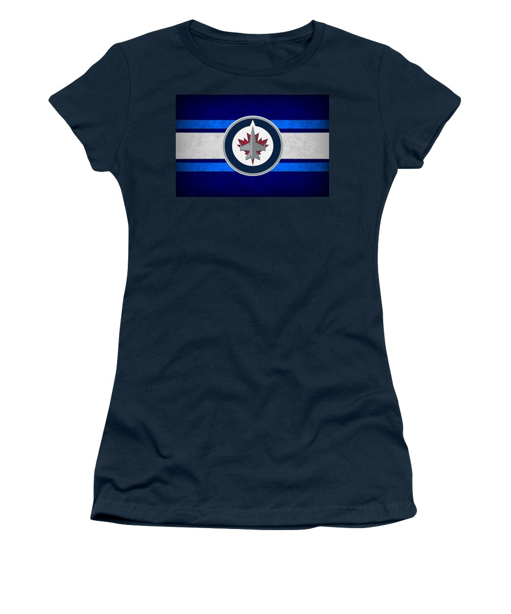 Jets Women's T-Shirt featuring the photograph Winnipeg Jets by Joe Hamilton