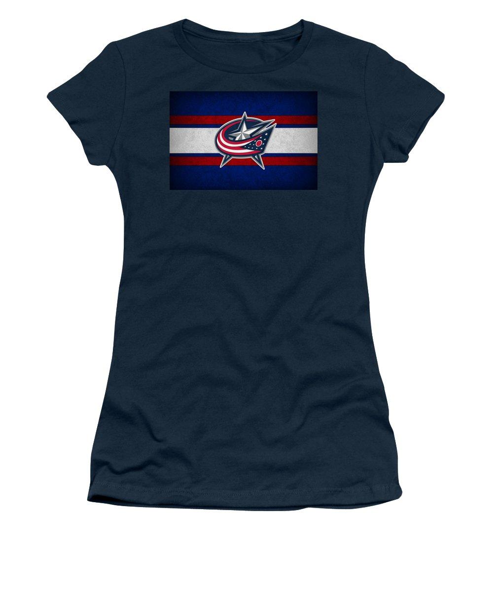 Blue Jackets Women's T-Shirt featuring the photograph Columbus Blue Jackets by Joe Hamilton