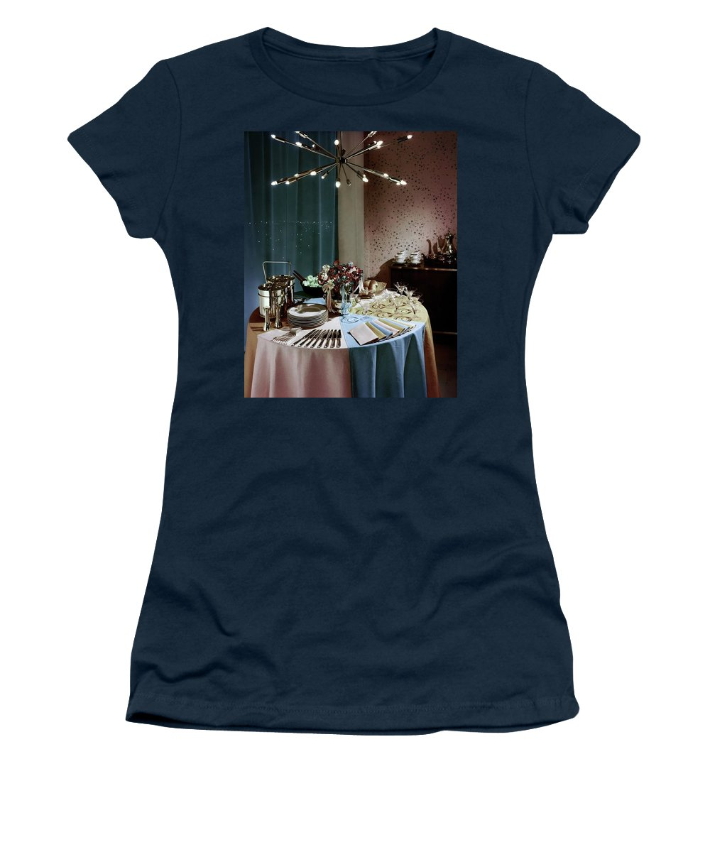 Party Women's T-Shirt featuring the photograph A Buffet Table At A Party by Wiliam Grigsby
