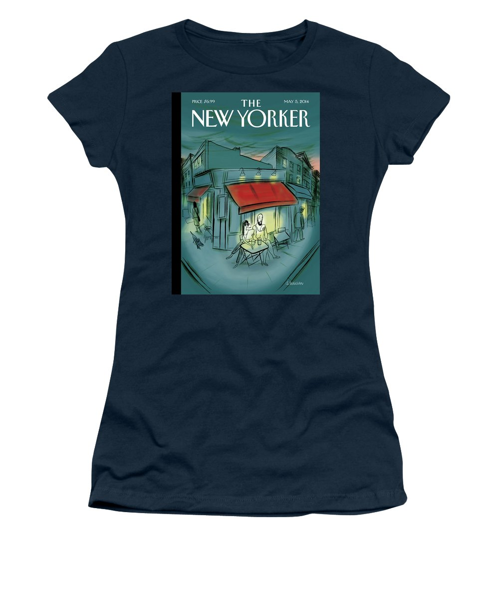 Digital Women's T-Shirt featuring the painting Out and About by Charles Berberian