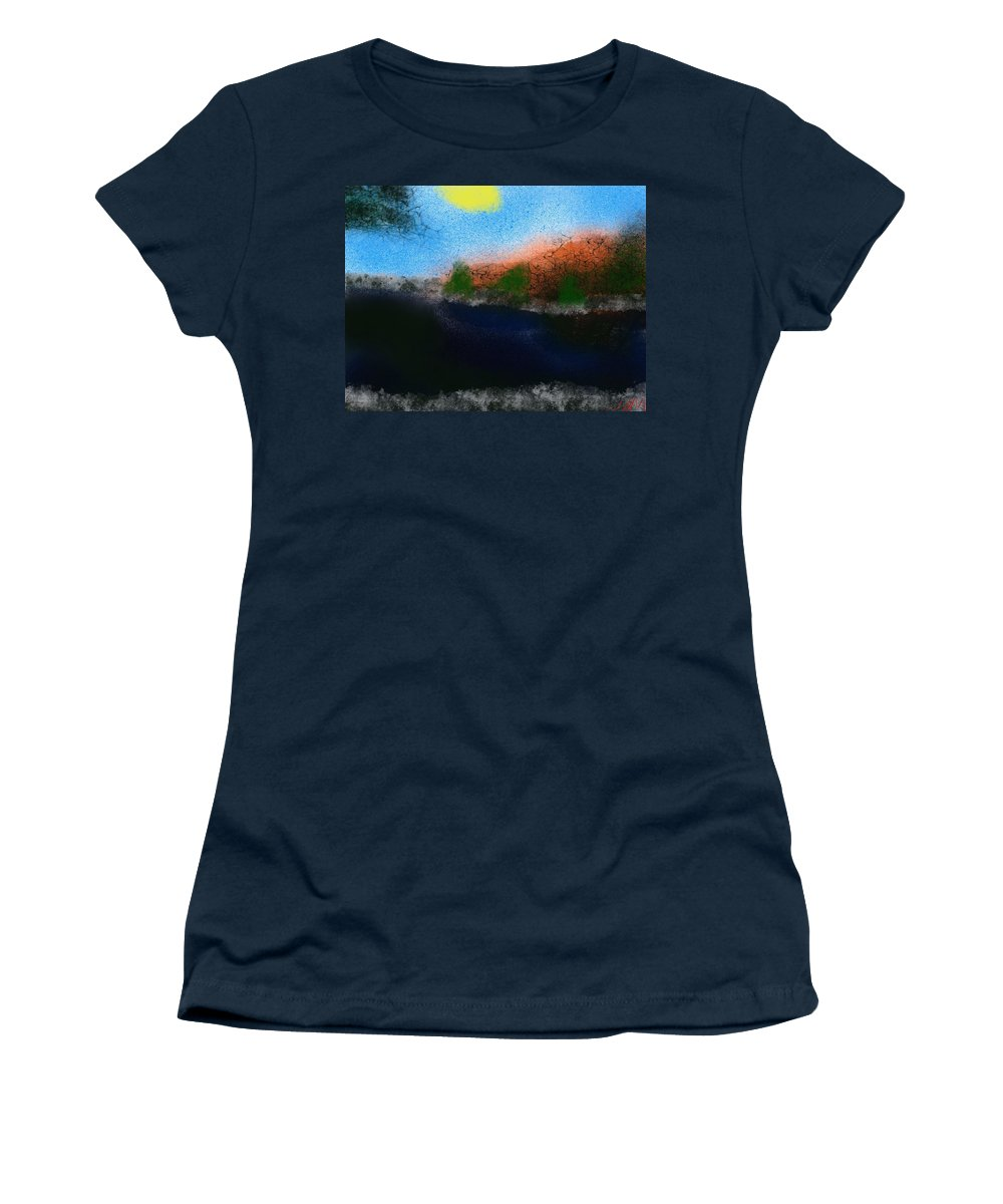 Lake Women's T-Shirt (Athletic Fit) featuring the painting A Day At The Lake by Bill Minkowitz