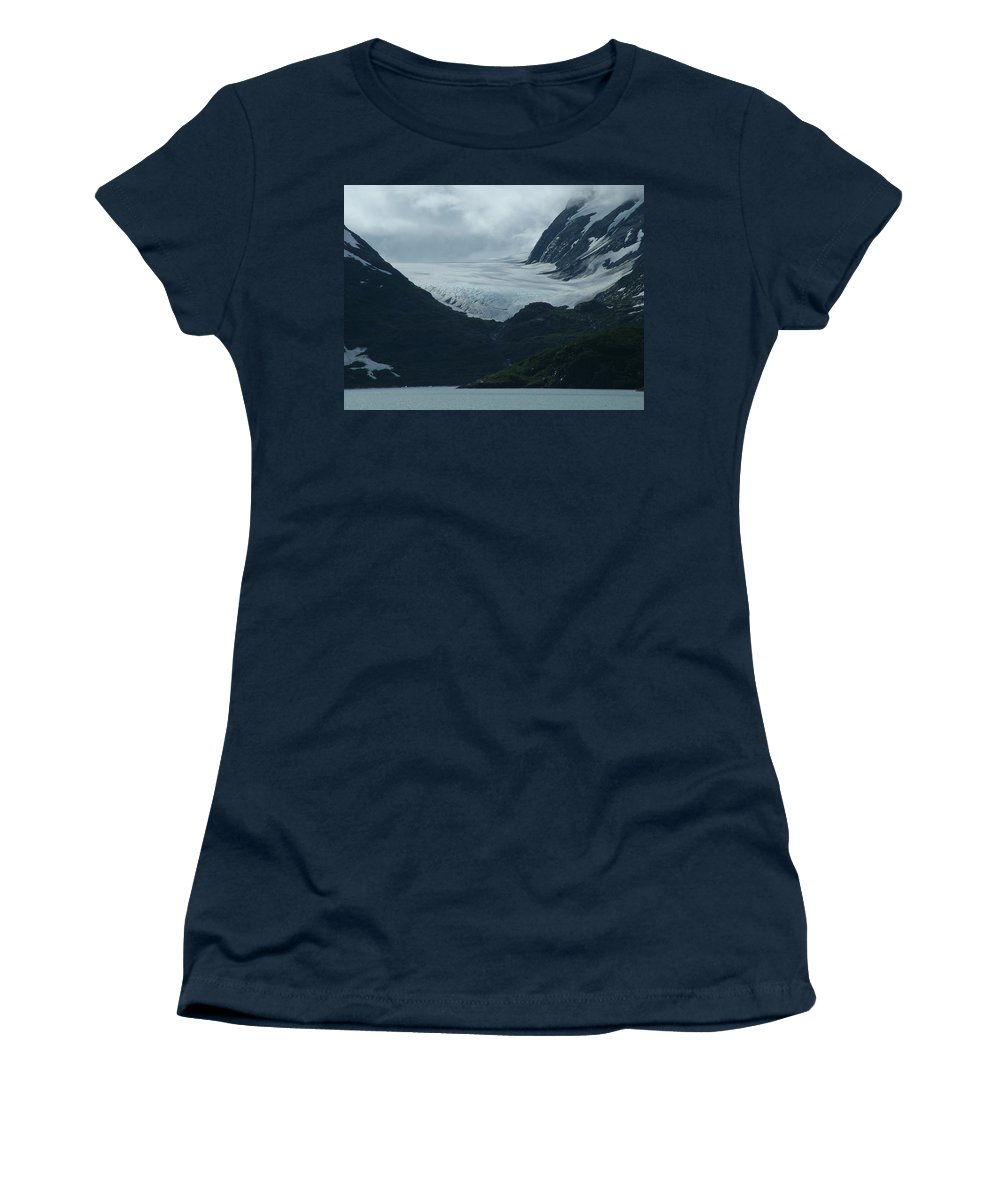 Glacier Women's T-Shirt (Athletic Fit) featuring the photograph A Glacier Receding - II by Geoffrey McLean