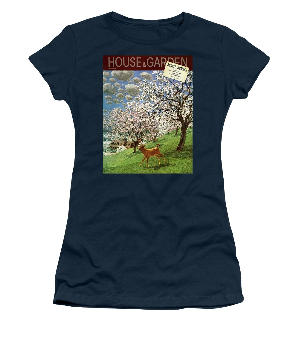 Illustration Women's T-Shirt featuring the photograph A House And Garden Cover Of A Calf by Pierre Brissaud