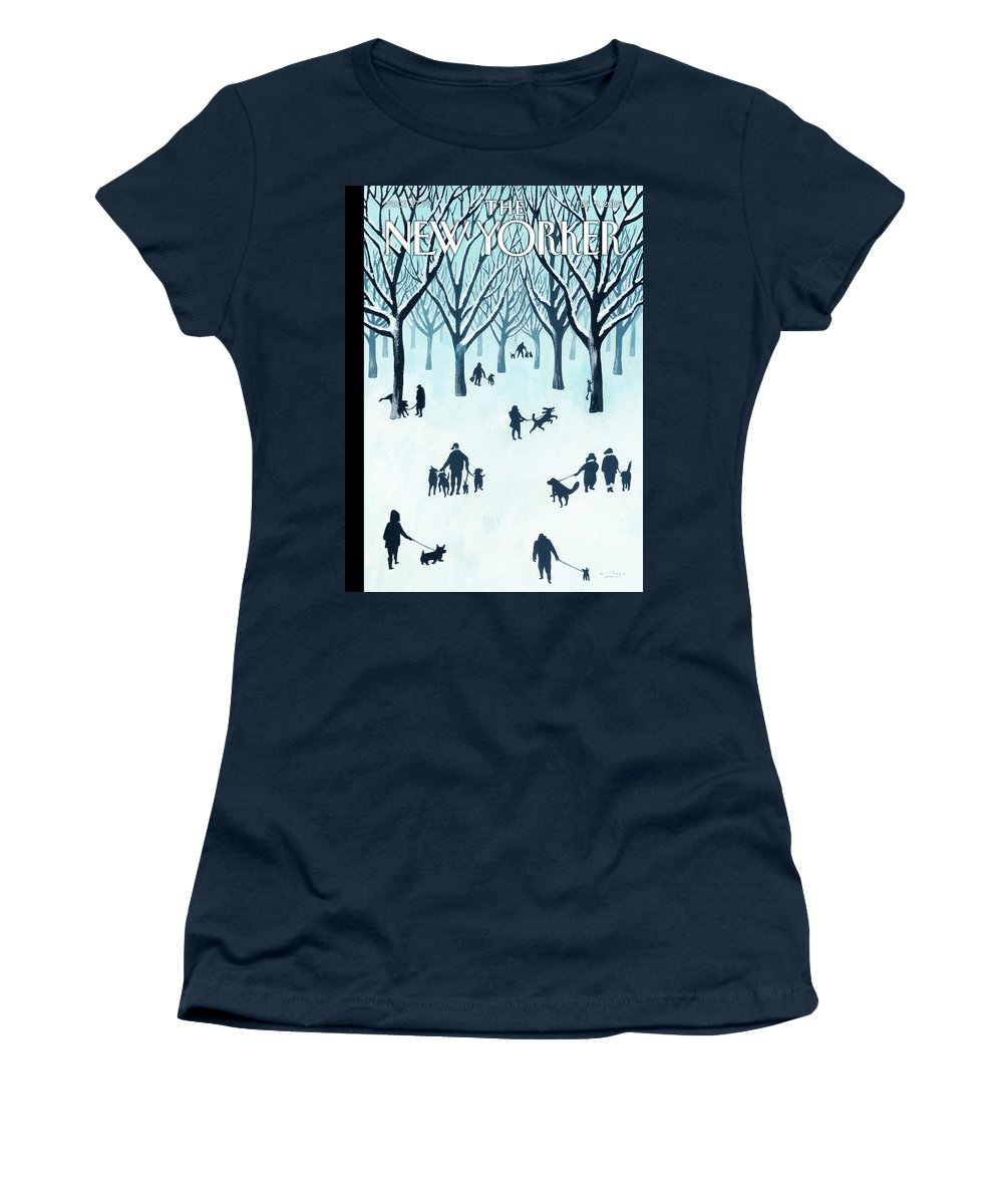 Snow Women's T-Shirt featuring the painting A Walk In The Snow by Mark Ulriksen