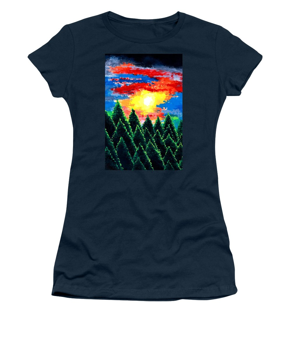 Landscape Women's T-Shirt featuring the painting After The Rain by Thomas Gronowski