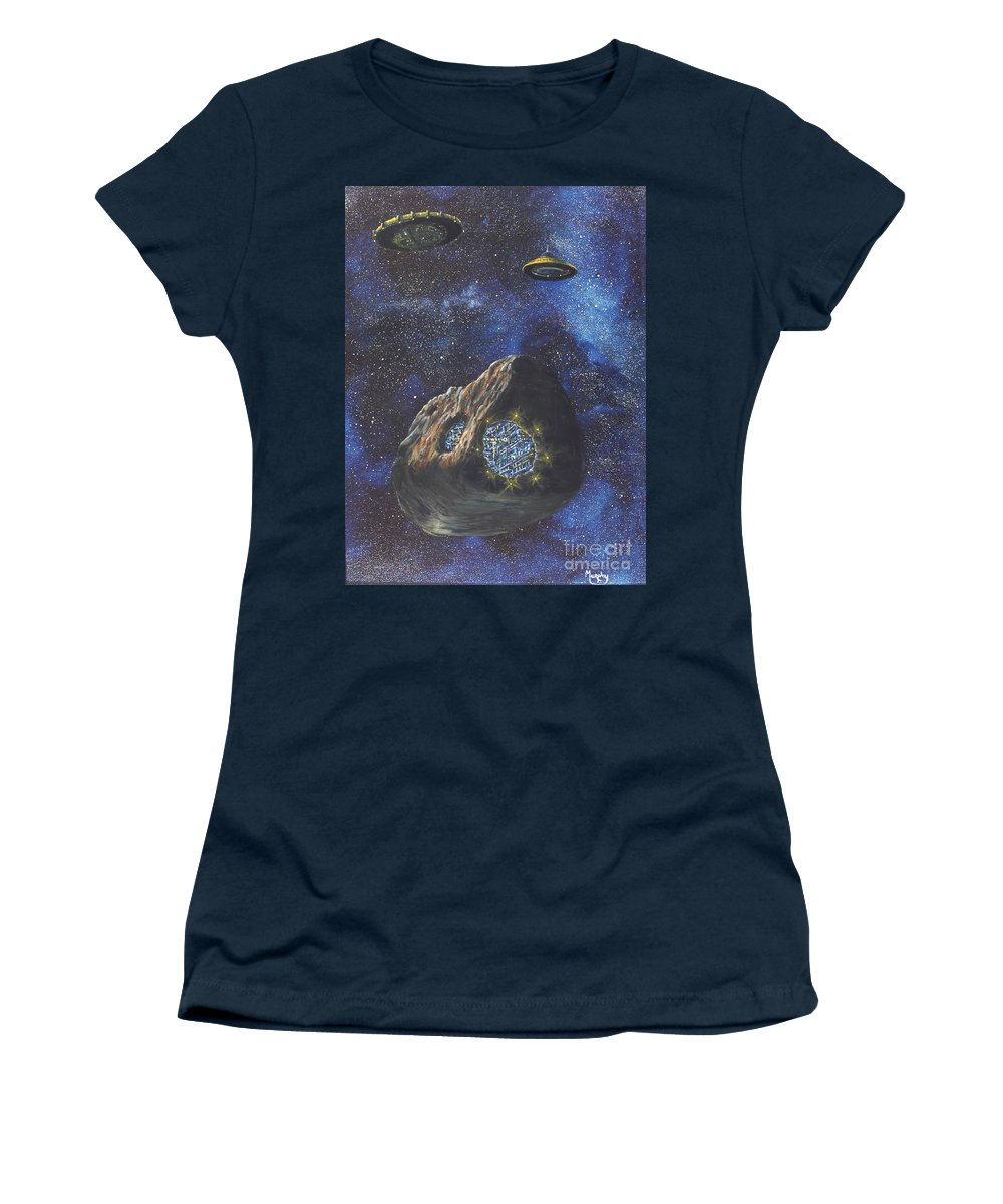Painting Women's T-Shirt featuring the painting Alien Space Factory by Murphy Elliott