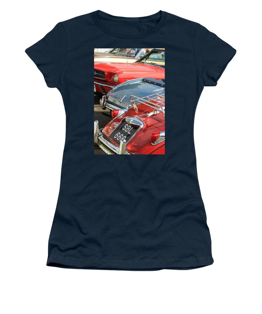 Le Mas Xk 150 Jaguar Women's T-Shirt featuring the photograph All That Chrome by Robert Phelan
