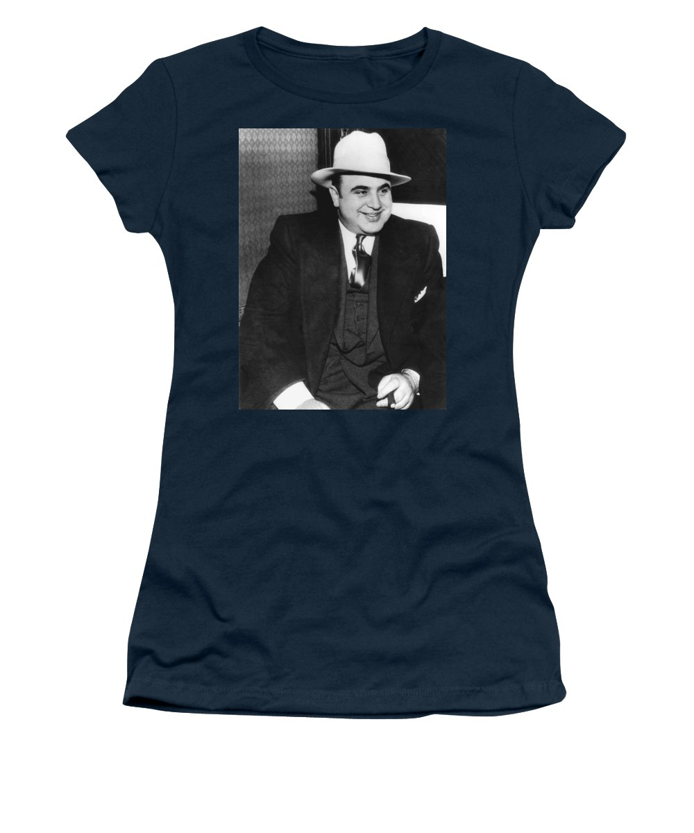 1035-790 Women's T-Shirt featuring the photograph American Gangster Al Capone by Underwood Archives