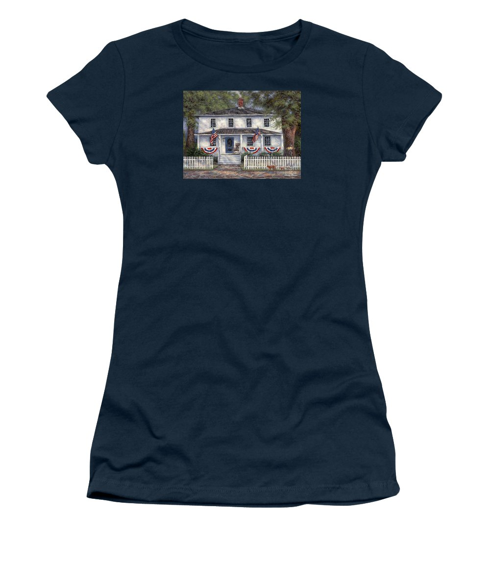 Partriotic Women's T-Shirt featuring the painting American Roots by Chuck Pinson
