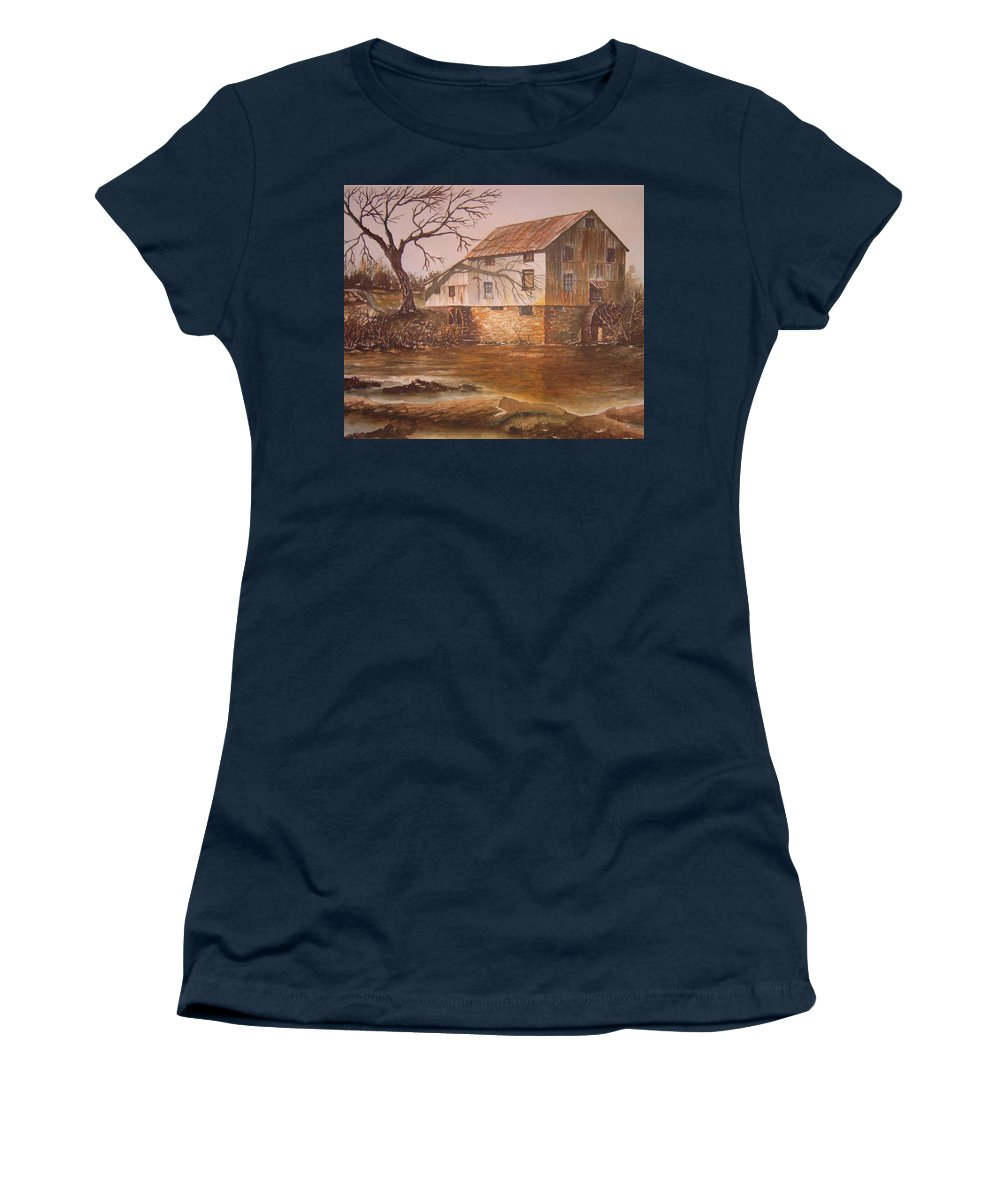 Landscape Women's T-Shirt featuring the painting Anderson Mill by Ben Kiger