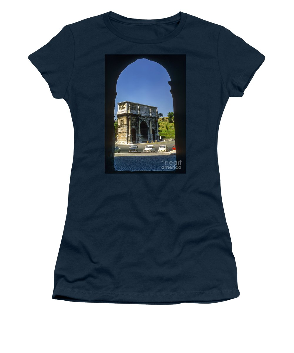 Arch Of Constantine Rome Arches Car Cars Automobile Automobiles Structure Structures Architecture City Cities Cityscape Cityscapes Italy Women's T-Shirt featuring the photograph Arch Of Constantine by Bob Phillips