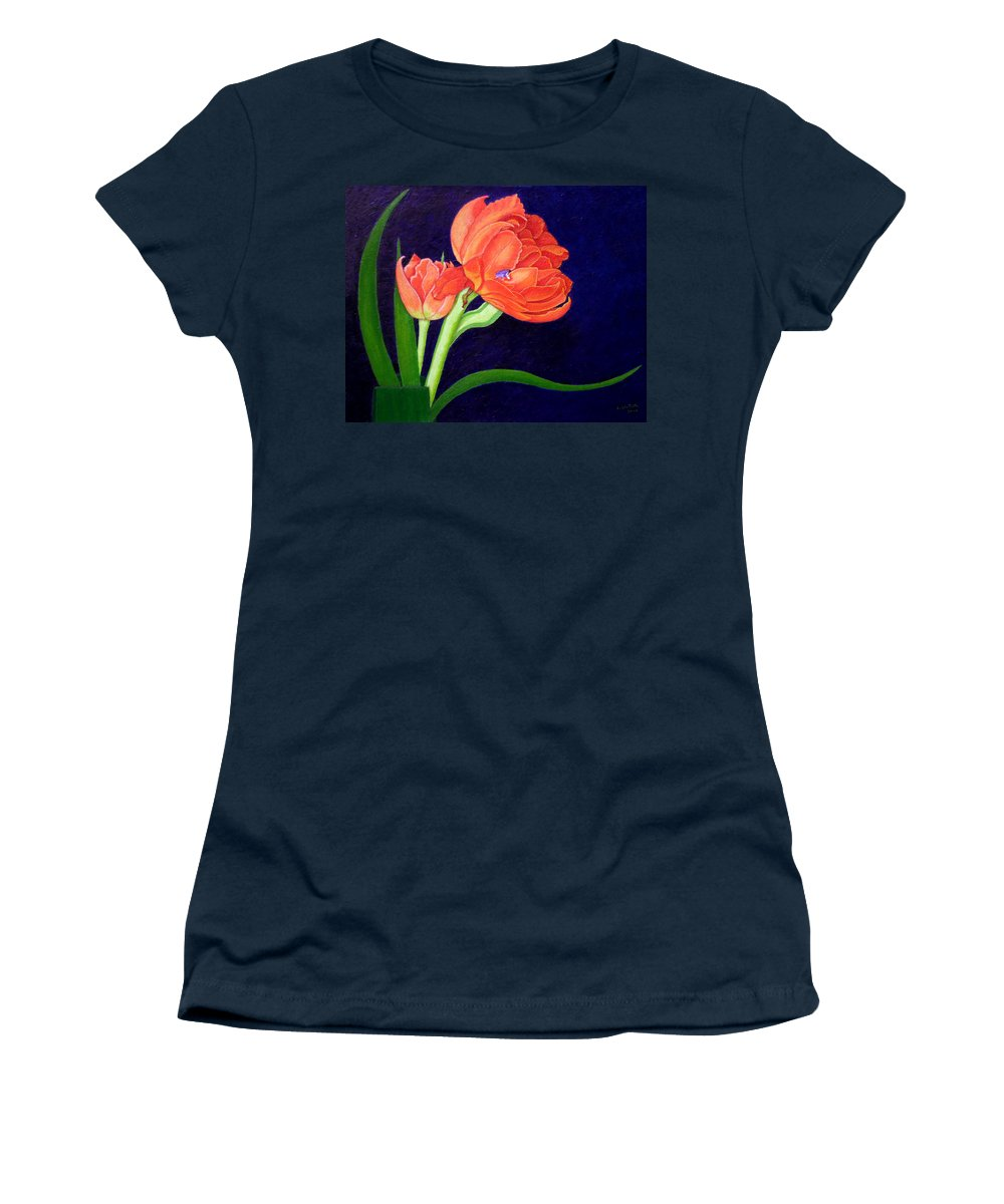 Bloom Women's T-Shirt featuring the painting Attention. I Am Here by Madalena Lobao-Tello