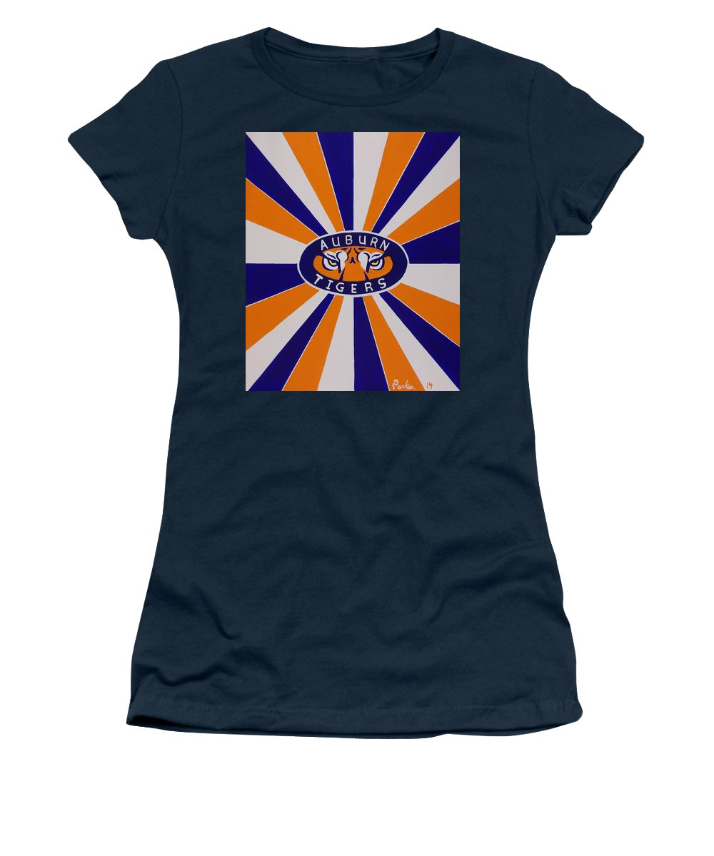 Auburn College Football Women's T-Shirt featuring the painting Auburn Tigers by Don Parker