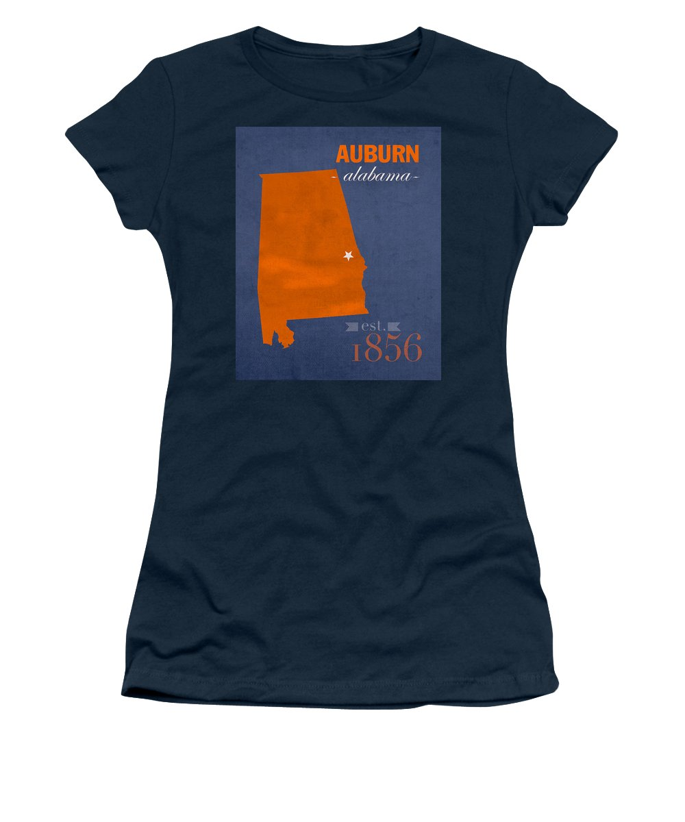 Auburn University Women's T-Shirt featuring the mixed media Auburn University Tigers Auburn Alabama College Town State Map Poster Series No 016 by Design Turnpike