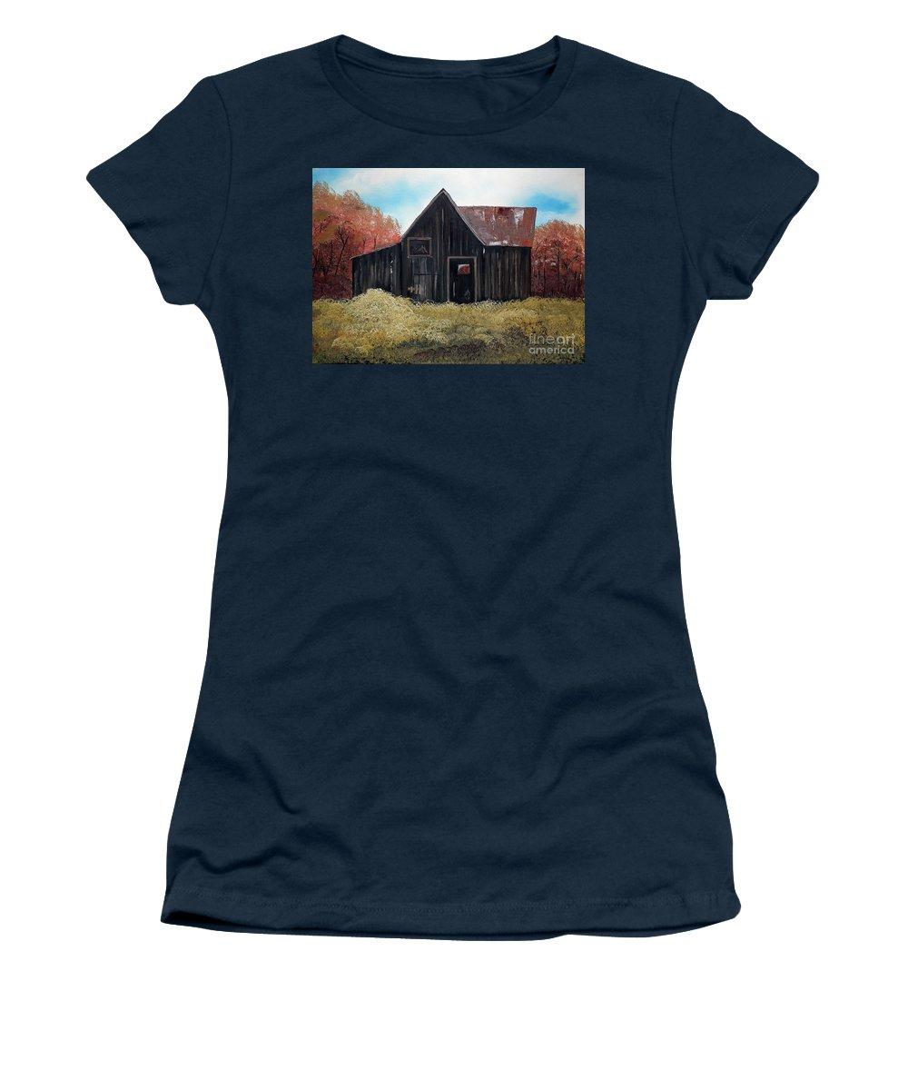 Autumn Barn Women's T-Shirt featuring the painting Autumn - Barn -orange by Jan Dappen