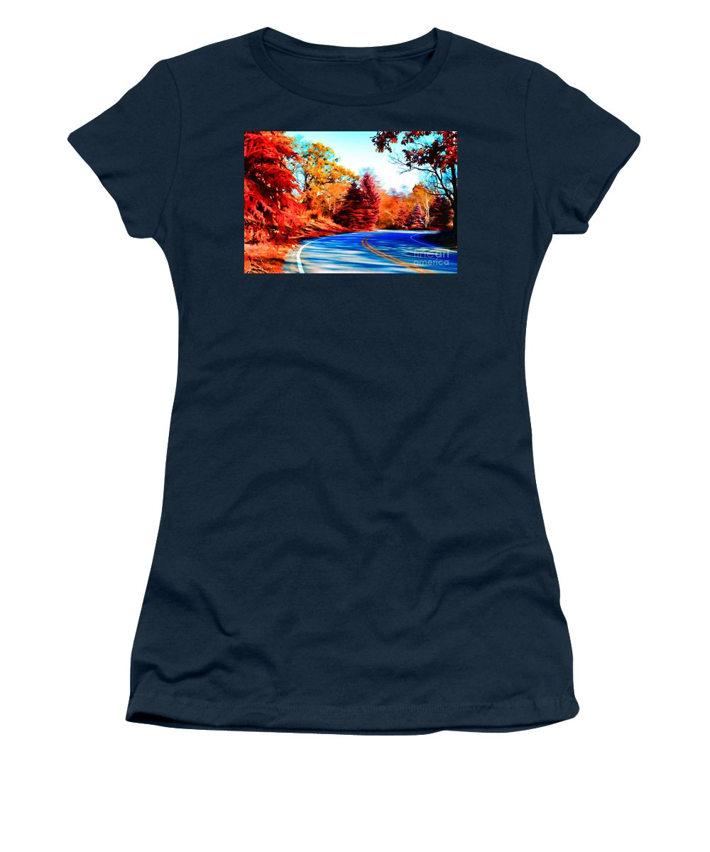 Autumn Forest Women's T-Shirt featuring the photograph Autumn Forest Road V7 by Douglas Barnard