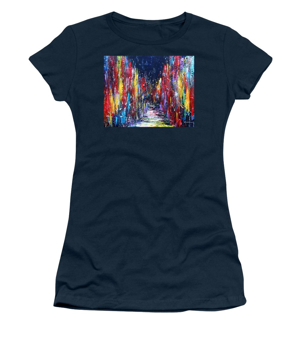 City Women's T-Shirt featuring the painting Back Street by Kume Bryant