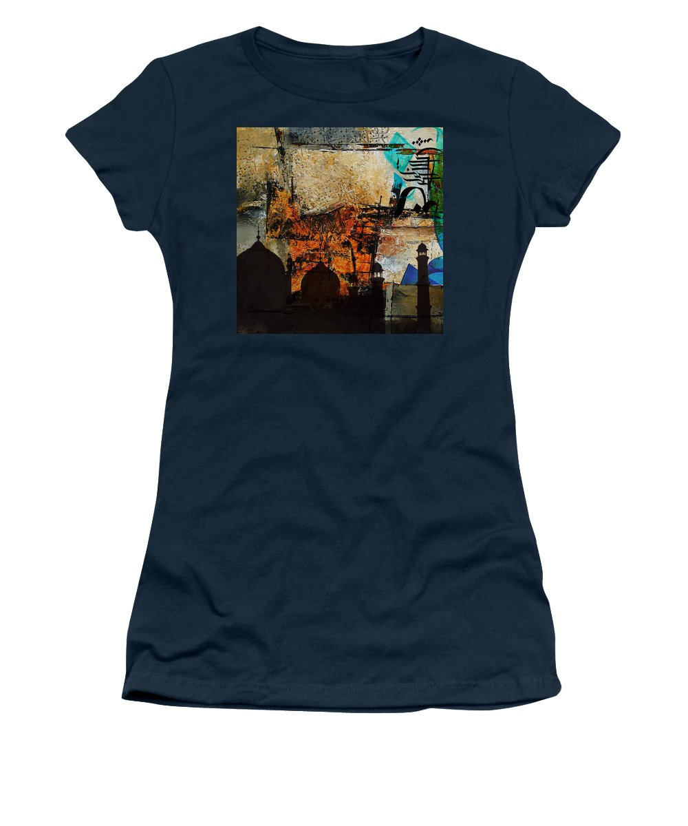 Mosque Women's T-Shirt (Athletic Fit) featuring the painting Badshahi Mosque by Corporate Art Task Force
