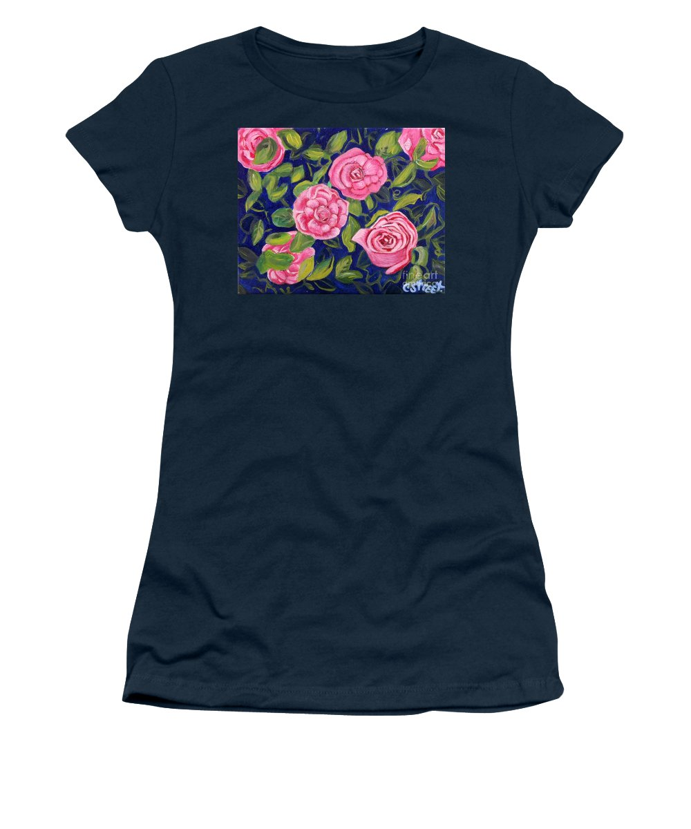 Roses Women's T-Shirt featuring the painting Bed Of Roses by Caroline Street
