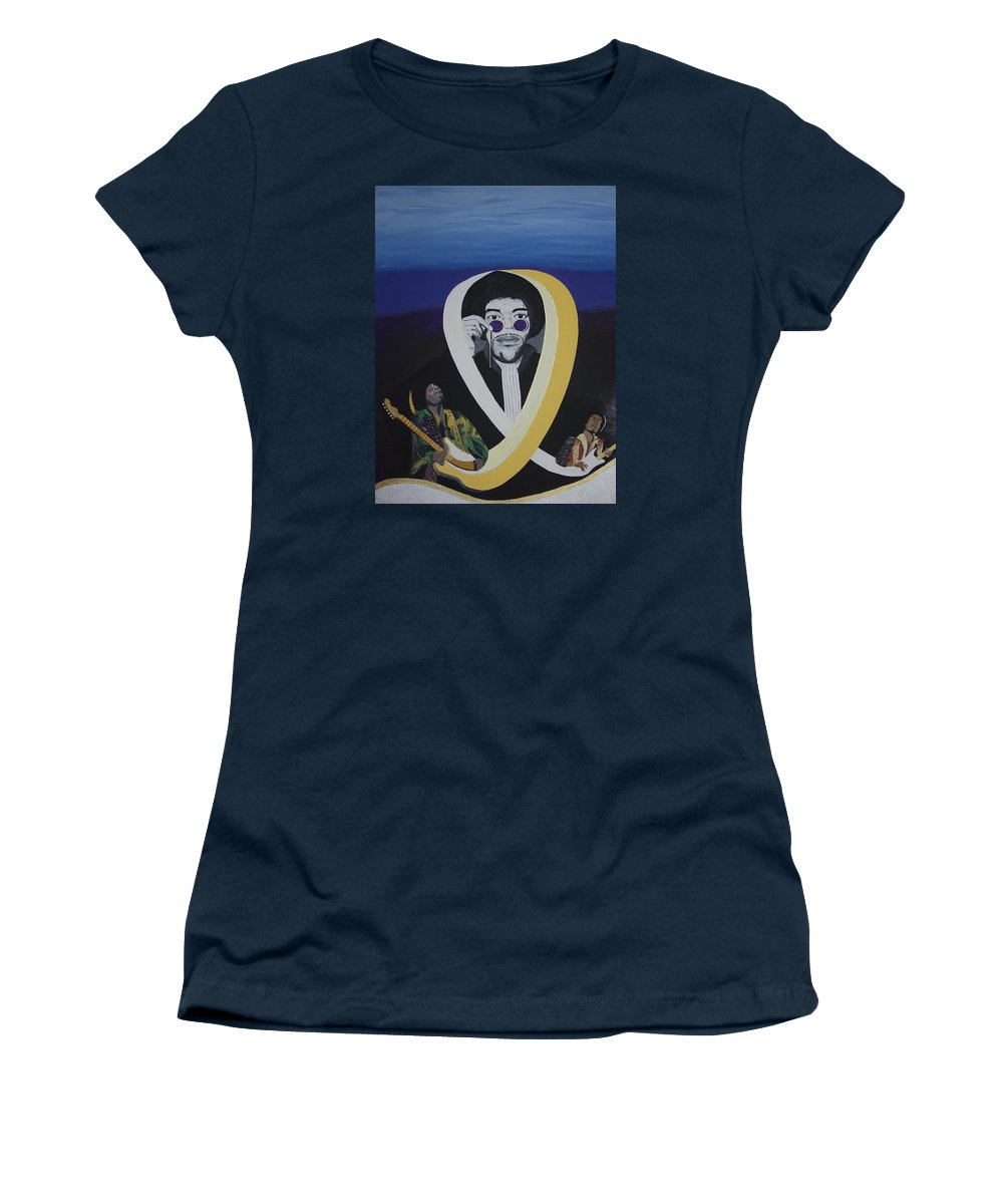 Memorable Women's T-Shirt (Athletic Fit) featuring the painting Beyond The Haze by Dean Stephens