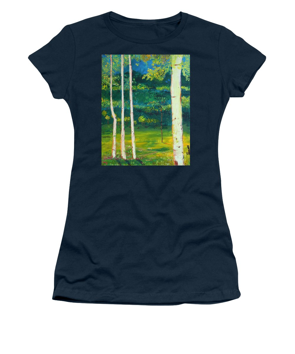 Landscape Women's T-Shirt (Athletic Fit) featuring the painting Birches by Stefan Duncan