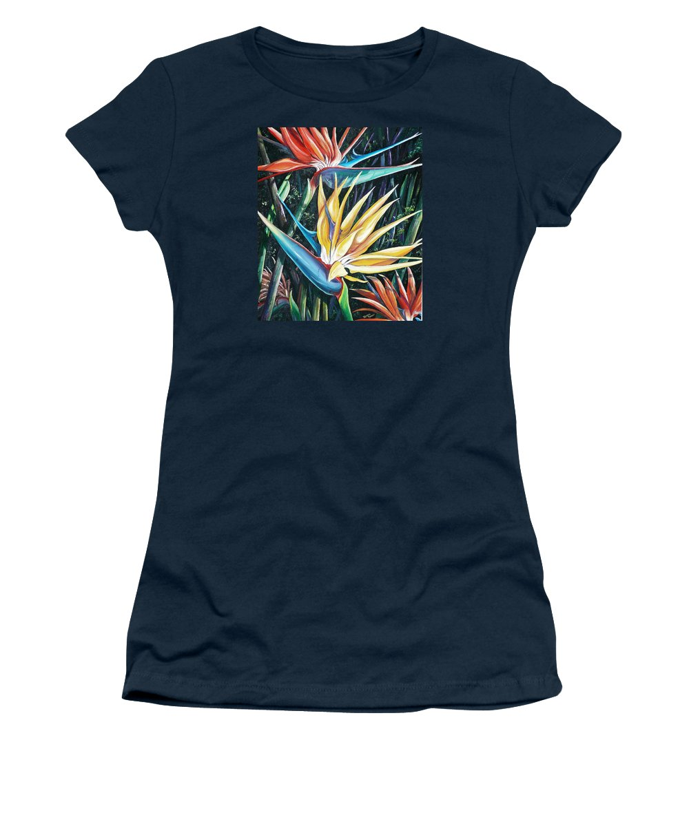 Caribbean Paintings Flower Paintings Bird Of Paradise Paintings  Lily Tropical Paintings Caribbean Flower Paintings Tropical Paintings Tropical Flower Paintings Greeting Card Paintings Canvas Print Paintings Poster Print Paintings Bloom Colorful Women's T-Shirt featuring the painting Birds Of Paradise 2  Sold by Karin Dawn Kelshall- Best