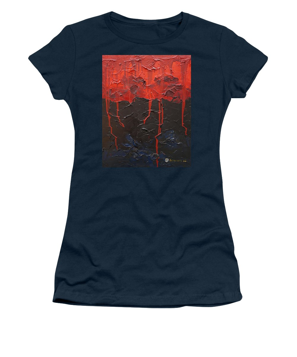 Fantasy Women's T-Shirt featuring the painting Bleeding sky by Sergey Bezhinets