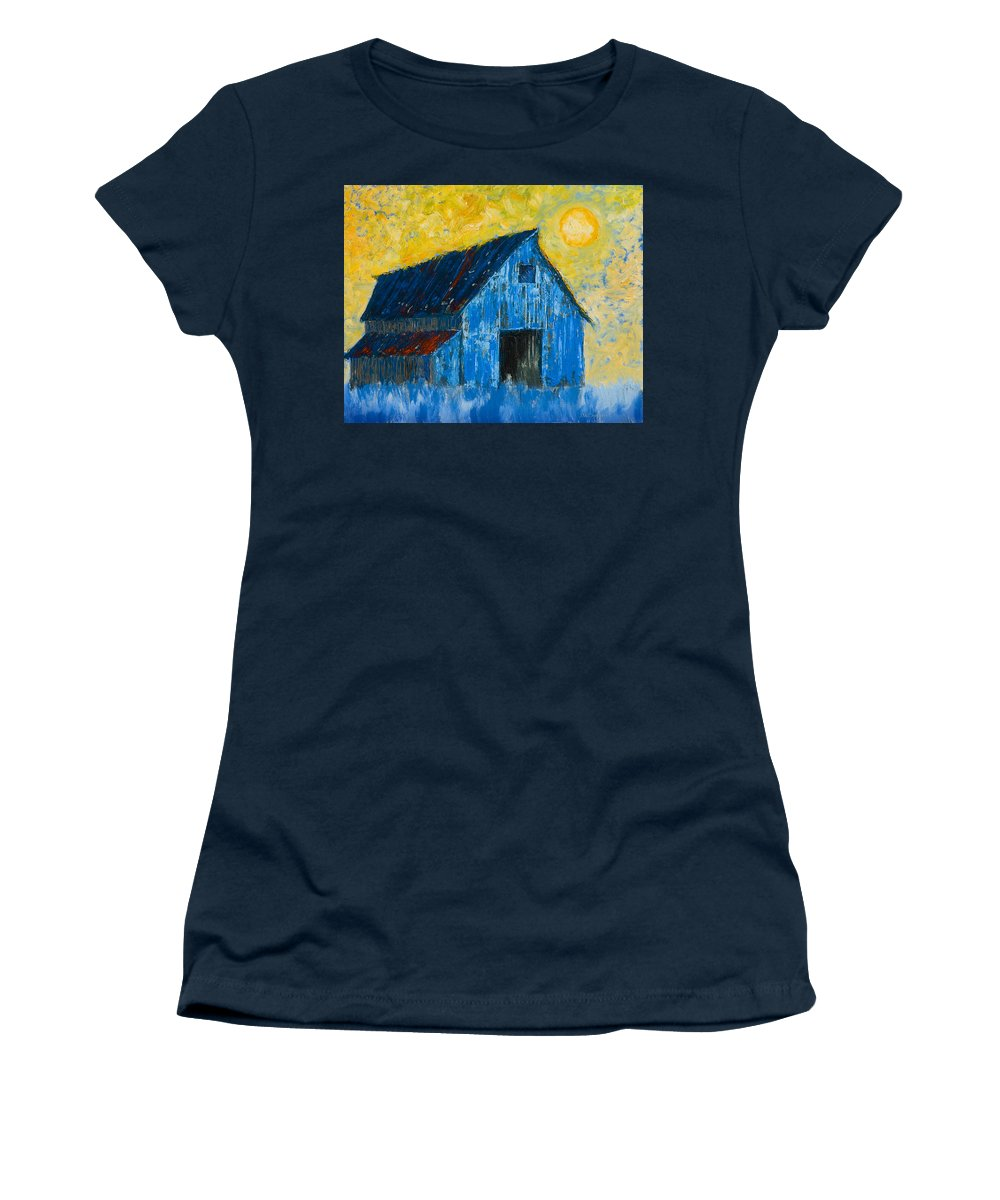 Barn Women's T-Shirt featuring the painting Blue Barn Number One by Jerry McElroy
