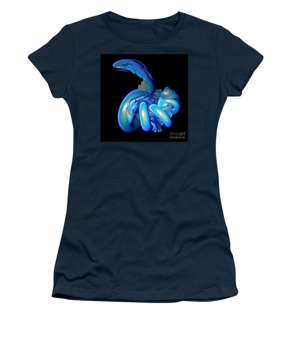 Snake Women's T-Shirt featuring the digital art Blue Charmer by Sara Raber