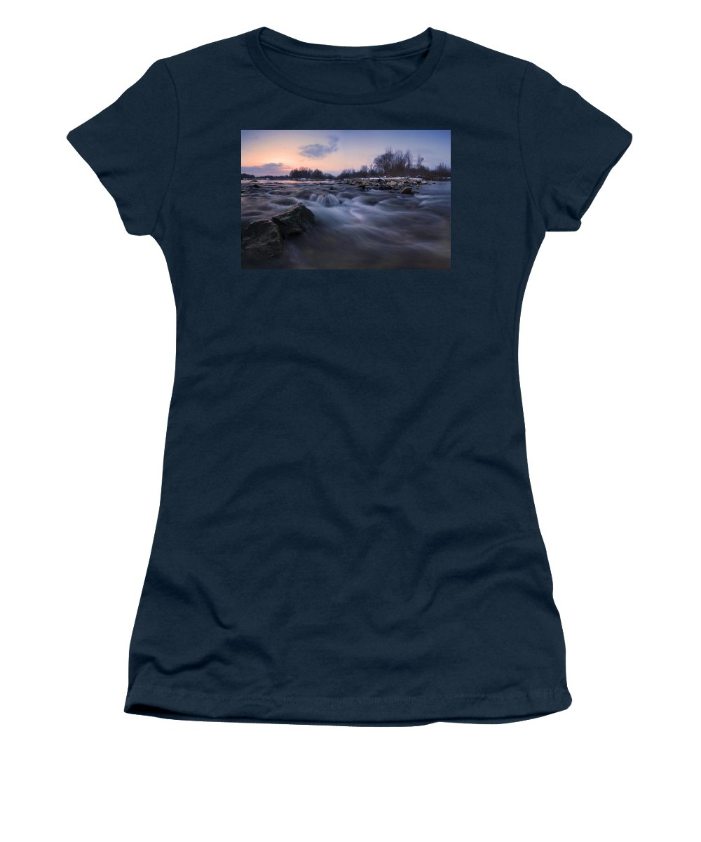 Landscapes Women's T-Shirt (Athletic Fit) featuring the photograph Blue Dream by Davorin Mance