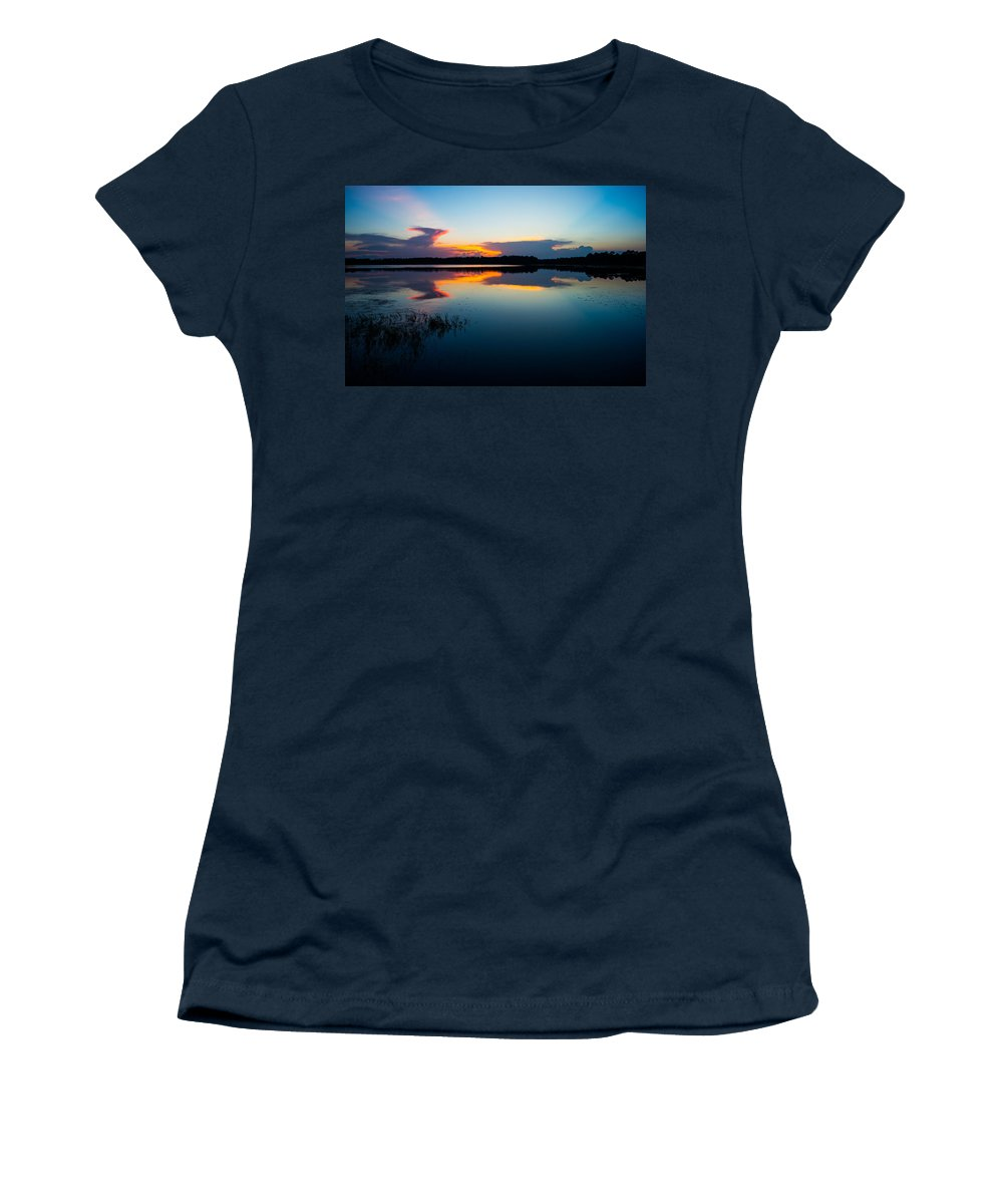 Sunset Women's T-Shirt featuring the photograph Blue Sky And Water by Parker Cunningham