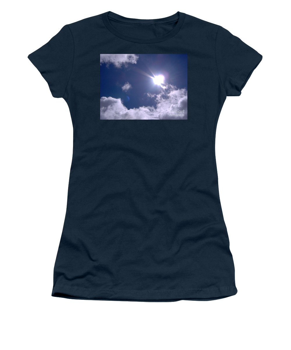 Clouds Women's T-Shirt featuring the photograph Blue Sky Clouds And Sunshine by D Hackett