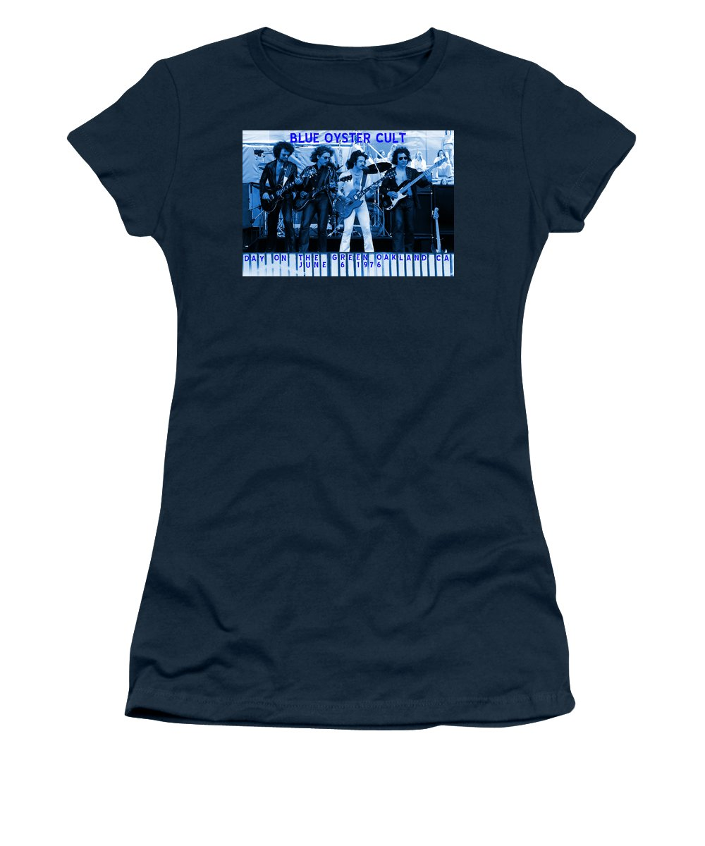 Blue Oyster Cult Women's T-Shirt featuring the photograph Boc #103 In Blue With Text by Ben Upham