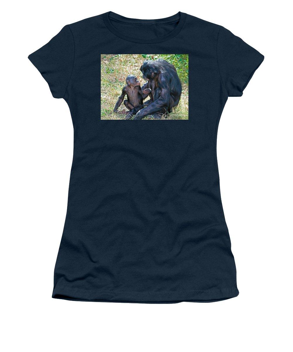 Bonobo Women's T-Shirt featuring the photograph Bonobo Adult Talking To Juvenile by Millard H. Sharp