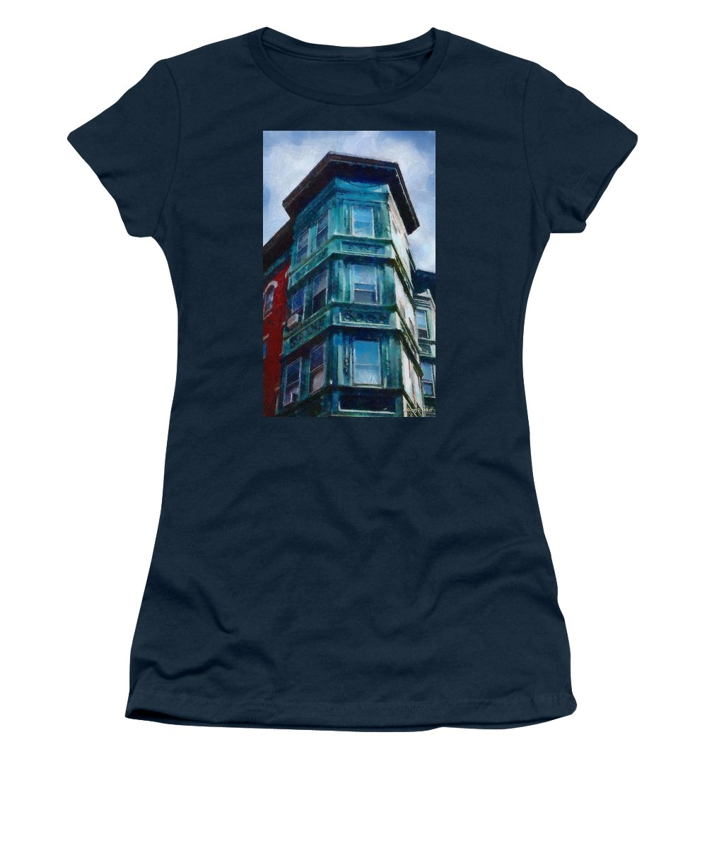 America Women's T-Shirt featuring the painting Boston's North End by Jeffrey Kolker