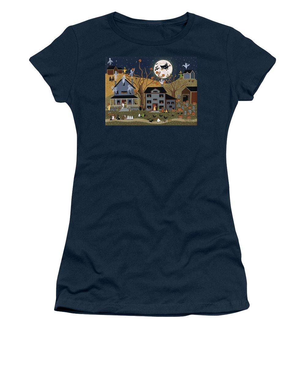 Halloween Women's T-Shirt featuring the painting Brandon's First Halloween by Medana Gabbard