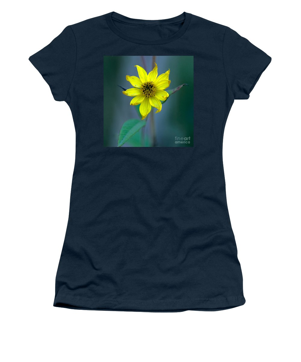 Bright Yellow Wildflower Women's T-Shirt (Athletic Fit) featuring the photograph Bright Yellow Wildflower by Optical Playground By MP Ray
