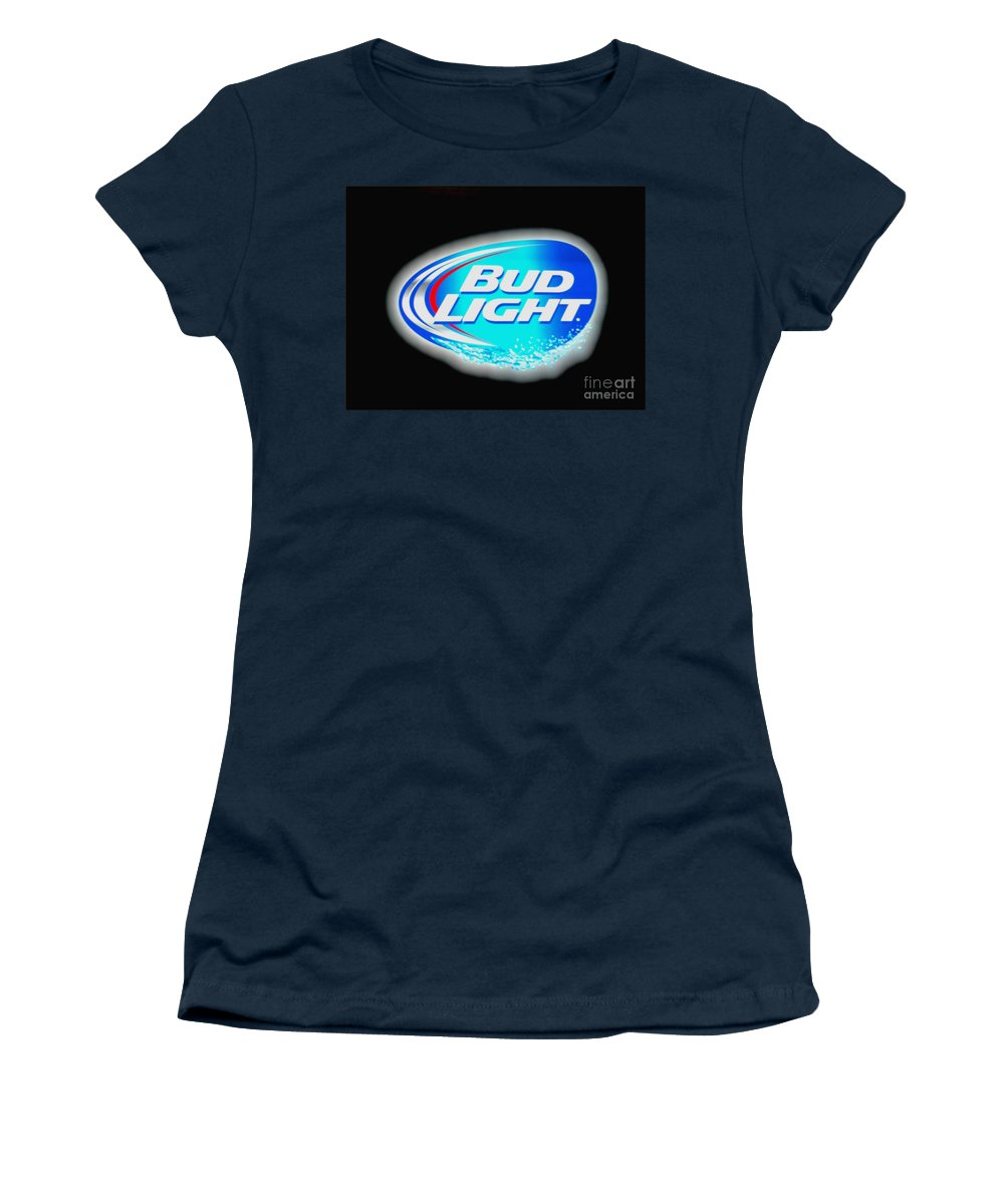 Women's T-Shirt featuring the photograph Bud Light Splash by Kelly Awad