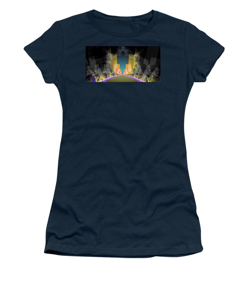 Fractal Art Women's T-Shirt featuring the digital art Burst Out Buildings by Elizabeth McTaggart