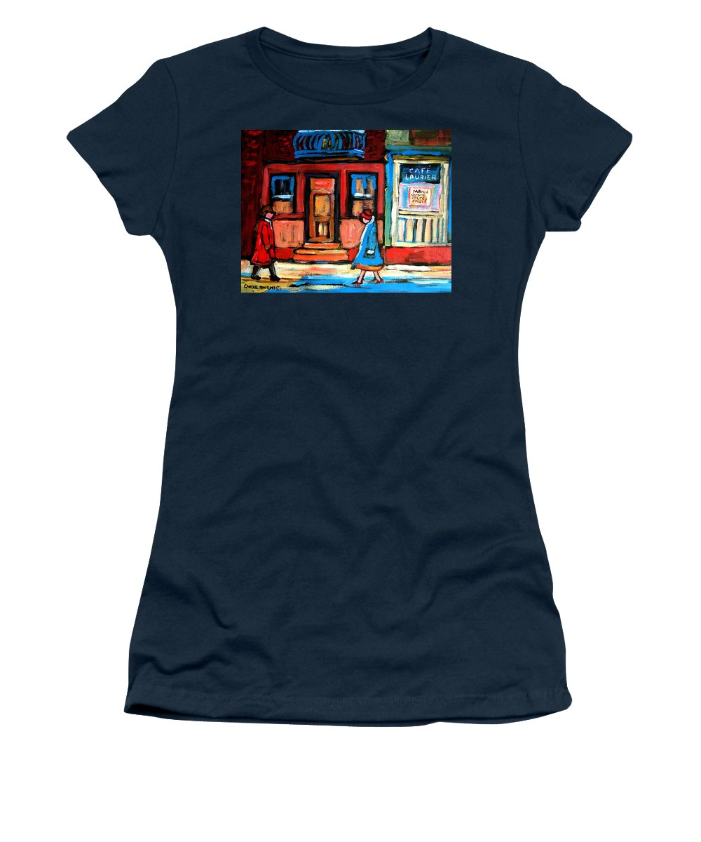 Cafe Laurier Montreal Women's T-Shirt (Athletic Fit) featuring the painting Cafe Laurier Montreal by Carole Spandau