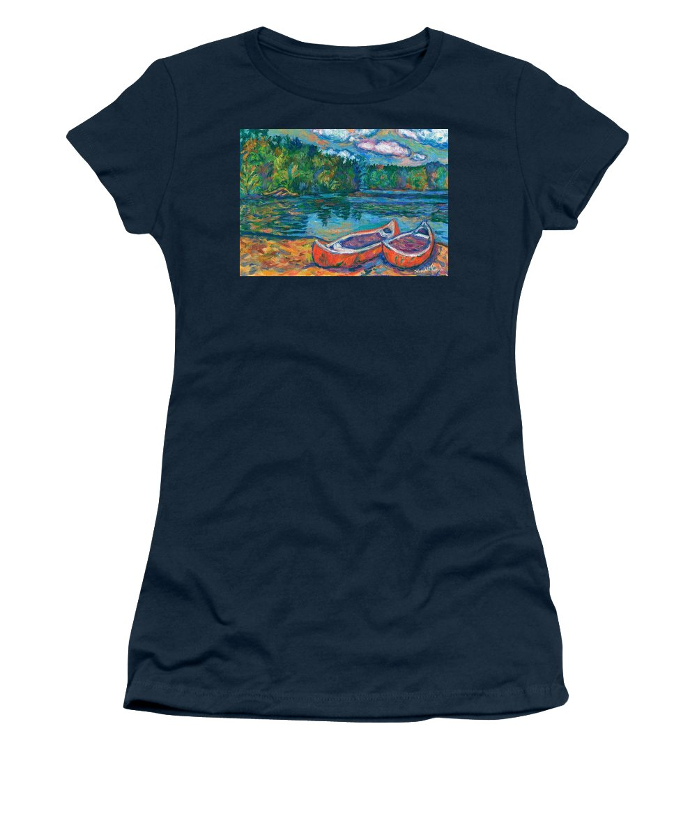 Landscape Women's T-Shirt (Athletic Fit) featuring the painting Canoes At Mountain Lake Sketch by Kendall Kessler